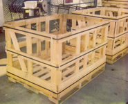 banded shipping boxes two wooden open shipping crates - Wooden Shipping Crates