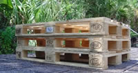 Stack of 3 used euro pallets